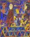 Jesus Urbieta Pintura Oleo Arena Sobre Tela Oaxaca 1991 COA