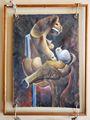 Carlos Alberto Gonzalez Palomino Paloma y Zapato Surrealista Oleo s Carton 1983