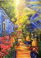 Vereda Tropical Pintura Firmada Oleo Tela Colgante Neiman Marcus